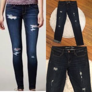 American Eagle distressed dark wash jegging Jeans